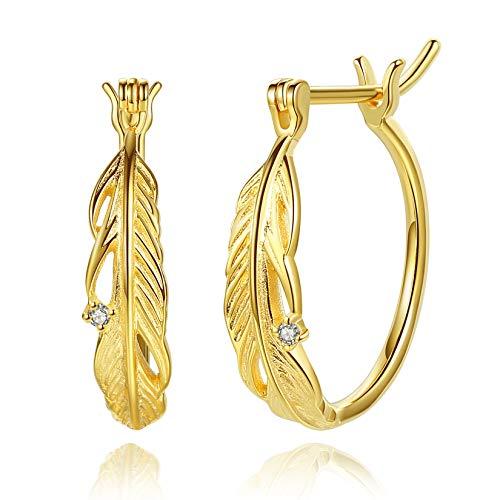 VIKI LYNN Pendientes de aro de plata de ley 925 chapados en oro de 18 quilates con plumas huecas para mujeres y niñas