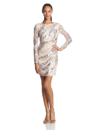 Adrianna Papell Women's Long Sleeve Short Beaded Cocktail Dress with Round Neck and V Back, Petal, 14