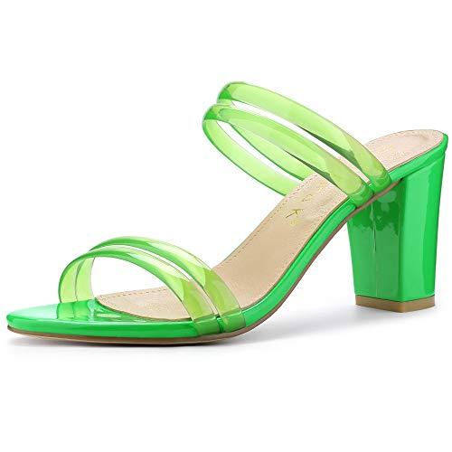 Allegra K Sandalias Mules De Tiras Tacón Alto De Bloquepara Mujer Verde 41
