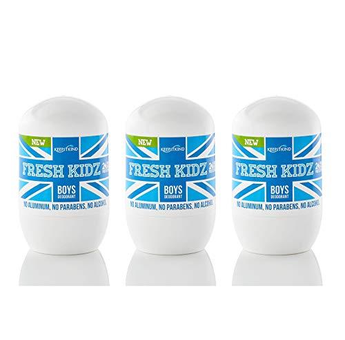 Keep it Kind Fresh Kidz Natural Roll On Deodorant 24 Hour Protection for Kids - Boys'Blue' 1.86 fl.oz. (3 Pack)