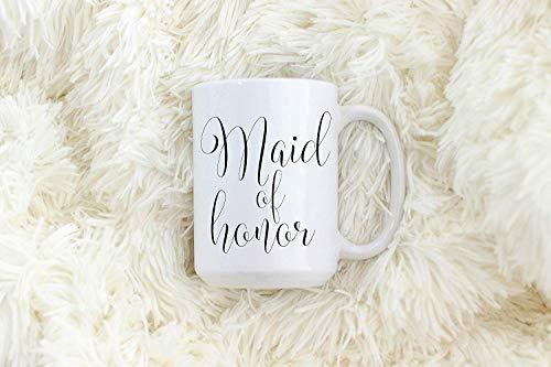 Dozili Maid of Honor Kaffeetasse Teetasse Moh Hochzeit Party Tassen passende Tassen schwarz und minimalistisch Maid of Honor Geschenk 325 ml weiß
