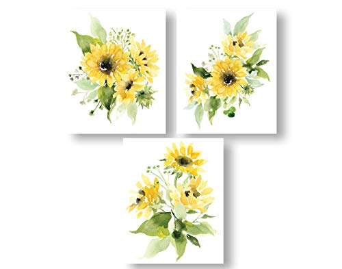 Sunflowers Watercolor Wall Art Print Set | Yellow, Green, and White Set of Three 8x10 UNFRAMED Prints - Botanical, Floral, Farmhouse, Flower Kitchen Decor