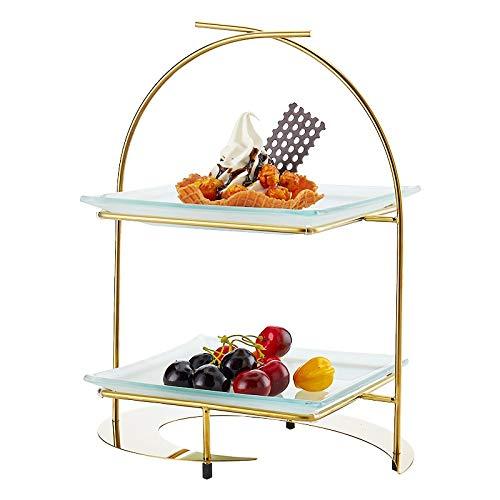 KJinZ roestvrijstalen banketbak, multifunctionele taartstandaard hotel, vitrine en groente, glasplaat 30 * 20 * 38CM