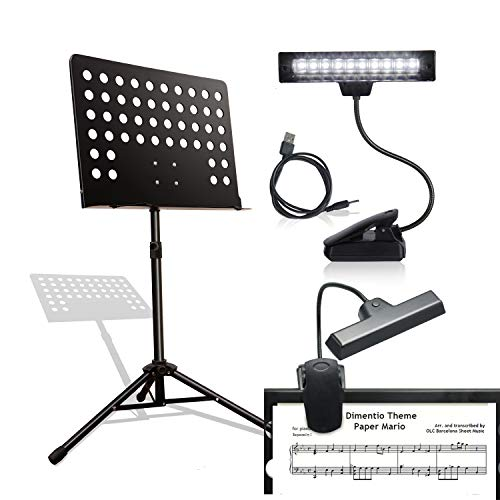 PARTYSAVING Music Stand, Professional Collapsible Orchestra Portable and Light weight with USB LED LIGHT Suitable for Instrumental Performance, APL2208