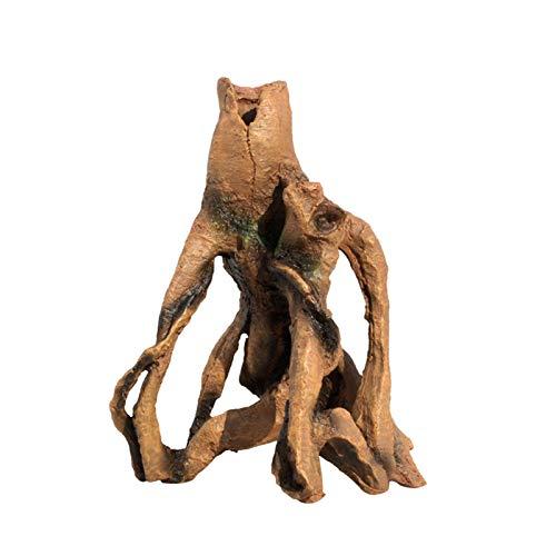 POHOVE Bois flotté en résine - Racine d'arbre - Décoration d'aquarium - Bois flotté - Souche d'arbre en résine - Ornement de tronc pour reptiles - Avec trous pour décoration d'aquarium