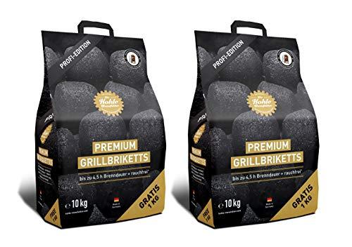 Gartenwelt Riegelsberger Kohle Manufaktur Premium Grillbriketts Briketts Grill Holzkohle rauchfrei* bis zu 4,5 Std. Brenndauer Made IN Germany Set 2X 10 kg