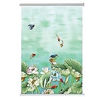 ローラーブラインド バスルーム/ベッドルーム/キッチン、セミシェーディング、池の風景の熱ブラックアウトローラーブラインドサイドプル (Size : 90×210cm)