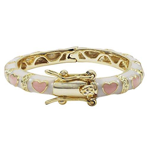 Ivy and Max Gold Finish Grey Enamel Multi Flowers Girls Bangle Bracelet