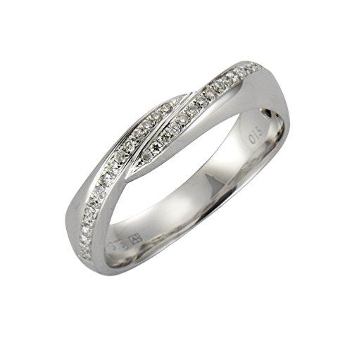 Diamonds by Ellen K. Damen Ring 9 Karat 375 Gold weiß rhodiniert Diamant 0.15 ct Rundschliff weiß Gr. 50 (15.9) 170370186-2-016