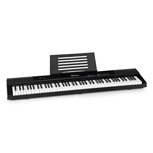 SchubertPreludio - Teclado, 88 Teclas, Curva de Velocidad Regulable, Iluminación de Teclas, Pedal de sostenido, 140 Tonos, 16 Canciones Demo, USB, Función de grabación, Aprendizaje y división, Negro