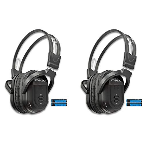 Key Audio 2 Pack of Two Channel Folding Universal Rear Entertainment System Infrared Headphones Wireless IR DVD Player Head Phones for in Car TV Video Audio Listening
