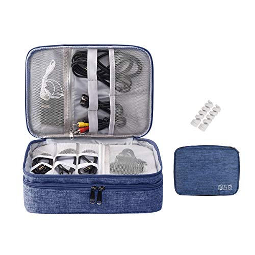 OrgaWise Bolsa Cables de Viaje Organizador Accesorios para Tableta, Disco Duro Externo, Cargador, Cables, Objetos, Kindle, Adaptadores, Tarjetas de Memoria (Azul-3 Capas)