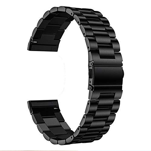 ZLYZS Correa De Repuesto Compatiblecon Versa 3/Sense Fitness Tracker, Banda De Reloj para Mujer Brazalete De Acero Inoxidable Pulsera para Hombre Bandas Clásica De Metal Compatiblecon Versa 3,Negro