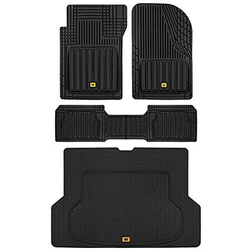 Caterpillar ToughLiner Heavy-Duty Rubber Floor Mats & Cargo Trunk Liner for Car SUV Van Sedan, Black - Odorless Trim to Fit, All Weather Deep Dish Automotive Floor Mats, Total Dirt Protection