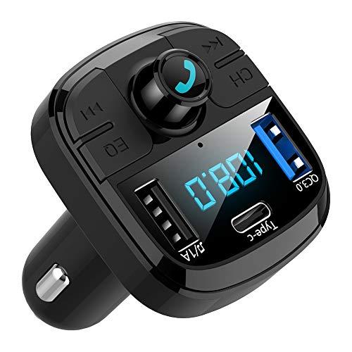 Cargador De Coche, BT29 Bluetooth 5.0 MP3 Tipo C Adaptador De Cargador De Coche QC3.0 De Carga Rápida para Teléfono Negro