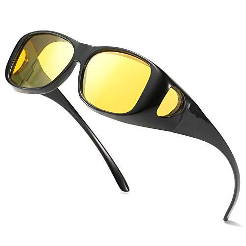 Enafad Fit Over Night Nachtbrille für Frauen Nachtsicht Blendschutz Polarisierte HD Gelbe Brille UV-Schutz (Hellschwarzes rahmengelbes Objektiv)