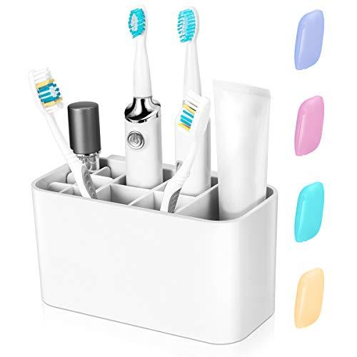 Healifty Zahnbürstenhalter - Badezimmer Caddy für Elektrische Zahnbürsten Badezimmer Organisator Badaccessoire, 4 Zahnbürstenabdeckungen für Geschenk