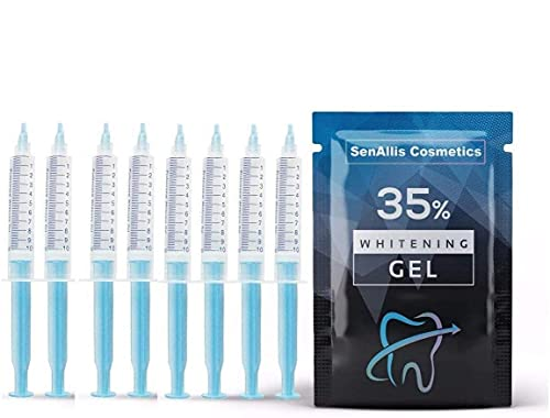 Eight (8) Huge 10mL Syringes SenAllis Cosmetics Teeth Whitening Gel, 80mL 35% Gel Syringes, Fast & More Effective Than Teeth Whitening Strips, Refills Gel Compatible with Hi Smile Teeth Whitening Kit
