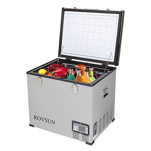 ROVSUN Car Refrigerator, 2.1 CF, 12V 110 V, -4°F to 50°F Portable Freezer for Auto, RV, Truck, Camping, Travelling, Home, Compressor Cooler, Anti-Shock and Battery Protective (64 Quart)