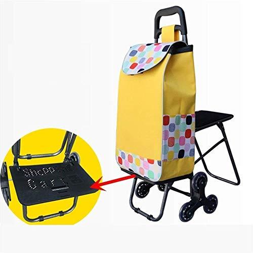 NYDZDM Carrito de tres ruedas con rodamiento de asiento, carrito de compras, viejo hombre subir escaleras, carro de la compra portátil pequeño (color: M)