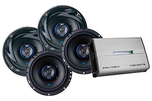 Autotek 4 Channel Amp & 3 Way Speaker (2 Pairs) Bundle - AYA-1100.4 Alloy Series Four Channel Car Audio Amplifier (1100-Watt, Class A/B) & ATS653 6.5 Inch 3 Way Car Speakers (300-Watt Max, 2 Pairs)