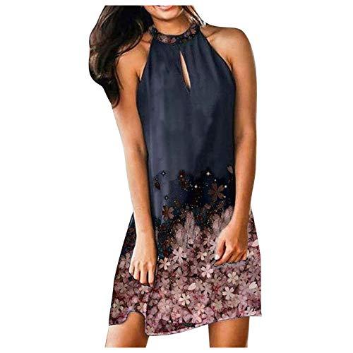 URIBAKY - Vestido de playa de verano con estampado bohemio, sin mangas, vestido de noche, vestido de fiesta, vestido grande, vestido de noche, sexy rosa XL