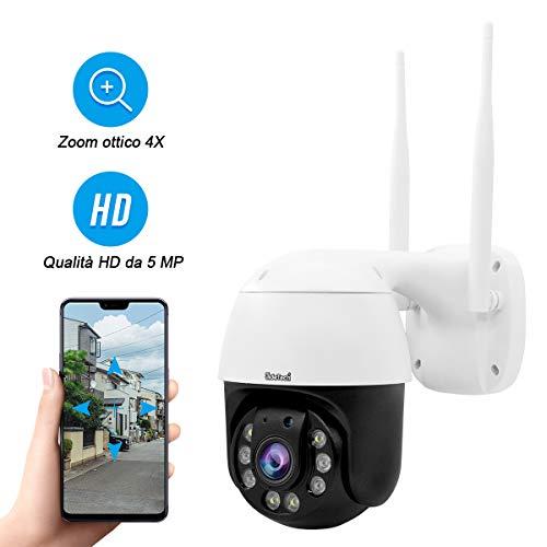 PTZ WiFi Dome IP Kamera 5MP mit 4X optischem Zoom unterstützt 2-Wege-Audio 70 m IR Nachtsicht, IP66 wasserdichte Onvif H.265 Außenüberwachung, Unterstützung 128G SD-Karte