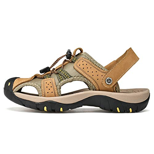 RatenKont Hombres Sandalias Playa Sandalias de cuero genuino Sandalias Sandalias al aire libre transpirables Zapatos para caminar Gold yellow 9.5