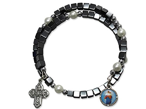 Armspange Hämatit, Würfel mit Perlen und Anhänger, 6 cm