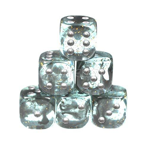 Würfelzeit 7102 - Würfel w6 16 mm Cosmoo Sparks Aqua-Black w/Silver (12 Augenwürfel in Klarsichtbox)