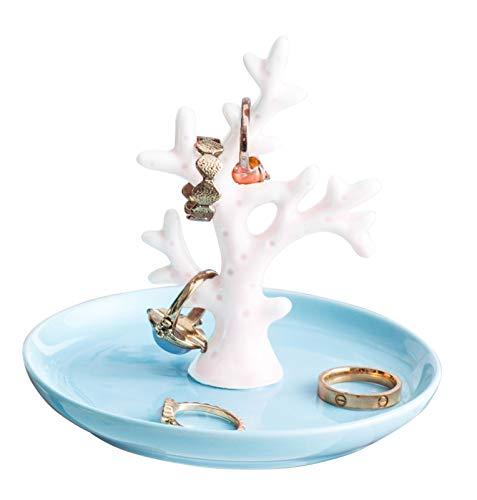 Jojuno Ceramic Coral Tree Ring Holder, Small Jewelry Pate Home Decor Dish,...