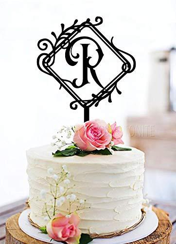 KISKISTONITE Rustic Wedding Cake Topper,Initial Cake Topper,Monogram Cake Topper R,Wedding Black Acrylic Cake Decoration Favors Cake Decorating Party Supplies