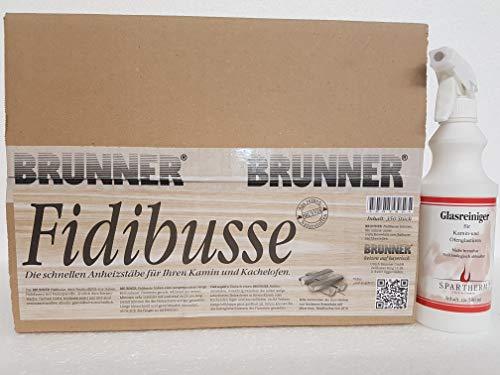 Fidibusse Brunner Ofenanzünder Grillanzünder Anzünder 350 Stück + 1 x Spartherm 500 ml Kaminscheibenreiniger