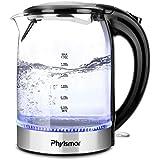 電動水壺,Phyismor 1.7 L 無繩 BPA玻璃水壺和熱水鍋爐,含藍色 LED 燈,不銹鋼表面處理,自動關閉,沸騰乾燥保護,硼硅酸鹽玻璃,1500W