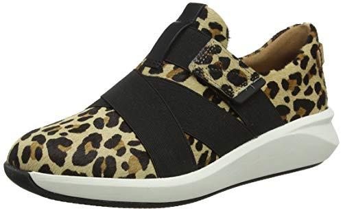 Clarks Damen Un Rio Strap Sneaker, Mehrfarbig (Leopard PRT Pony Leopard PRT Pony), 39 EU