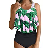 Zylione Tankini Damen Casual Sommer Bademode O-Neck Backless Bikinis Einfarbig Unregelmäßiges Lotusblatt Badekleid High Waist Blumendruck Zweiteilige Badeanzug (42,Rosa)