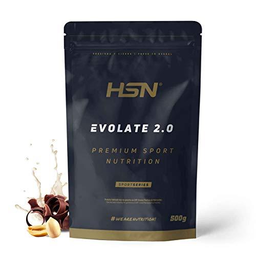 Aislado de Proteína de Suero Evolate 2.0 - Con Digezyme, Rica en BCAAs y Glutamina, Apto Vegetariano, Sin Gluten, Sin Soja, Sabor, Chocolate Cacahuete, 500 g