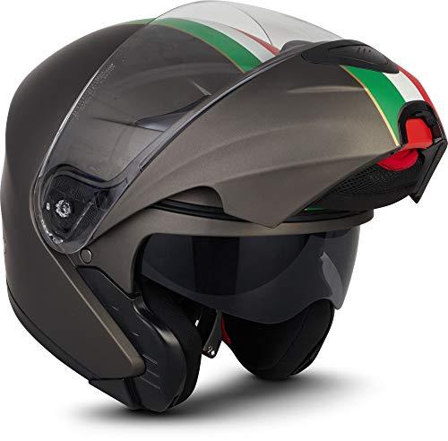 "MOTOHelmets® F19 ""Venice Titan"" · Motorrad-Helm · Klapp-Helm Modular-Helm Flip-up Integral-Helm Motorrad-Helm Roller-Helm Sport · ECE 22.05 Sonnenvisier Schnellverschluss Tasche M (57-58cm)"