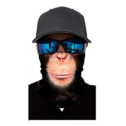 Seamless Face Mask| Bandana for Dust| Headband | Magic Scarf| Head Wrap| Windproof Neck Warmer| Neck Gaiter| Balaclava| Headwear | Animal Sweatband for Music Festivals, Raves, Outdoors (Gorilla)