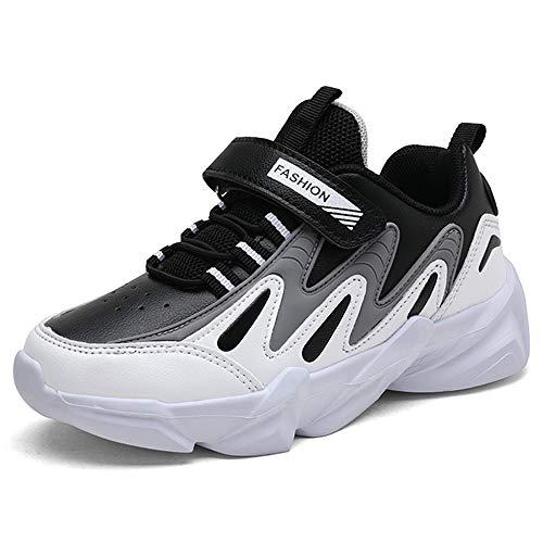 HSNA Zapatillas Niños Velcro Zapatos de Gimnasia para Caminar Ligero Trainers Kids(Negro y Gris 31 EU)