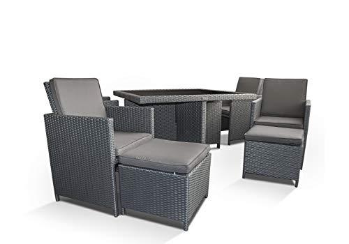 Ragnarök-Möbeldesign PolyRattan – DEUTSCHE Marke – EIGNENE Produktion – 8 Jahre GARANTIE auf UV-Beständigkeit Gartenmöbel Essgruppe Tisch + 4 Stuhl 4 Hocker 12 Polster Platinumsilber Grau - 5
