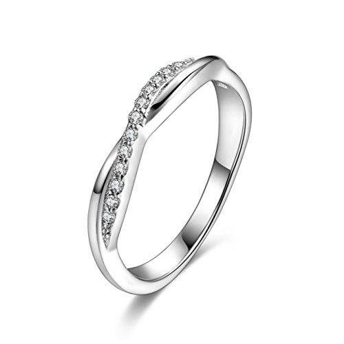 Candyfancy 925 Verlobungsring Silber Sterling Funkelnden Kristall Zirkonia Kreuz Infinity Unendlichkeitsring Echtsilber Ringe Damen Ringgröße 57 (18.1)