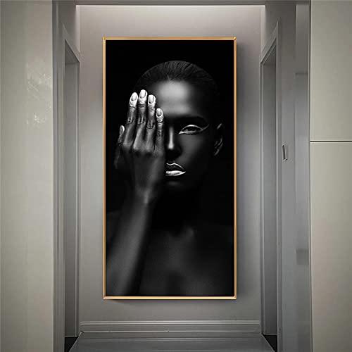 Gymqian Pinturas de Lienzo de Labios Plateados de niña Negra, Carteles de Lienzo de Arte de Pared de niña Africana e imágenes Impresas para la decoración de la Sala de Estar 50x100cm sin Marco