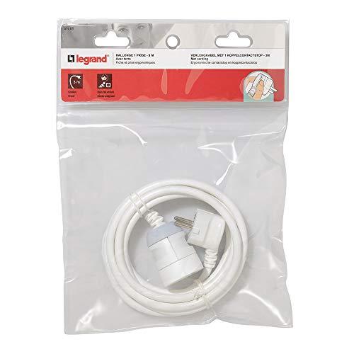 Legrand 051601 Rallonge Domestique avec Éclips de Protection, 2P+T, 5m Longueur, Blanc