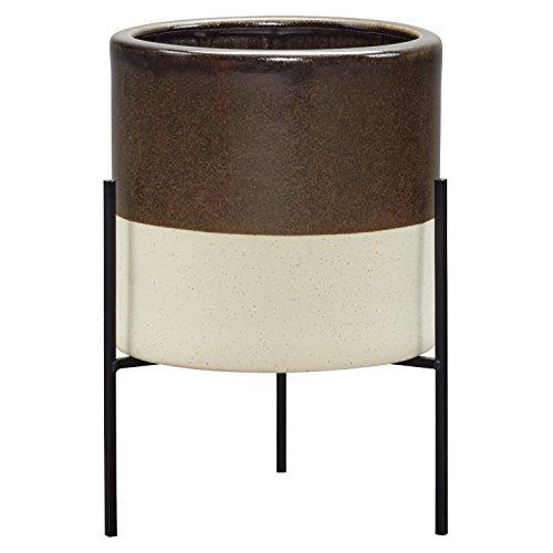 Amazon Brand – Rivet Mid-Century Ceramic Planter with Stand, 14'H, Dark Brown
