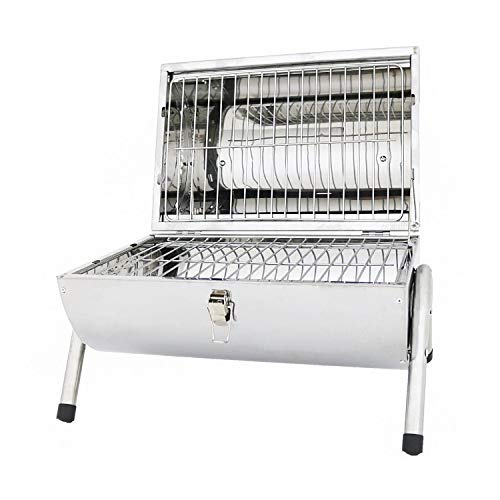 Oypla Portable Camping Stainless Steel Barrel BBQ Charcoal Barbecue Table Top