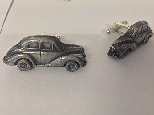 Morris Minor 2 portes classique Boutons de manchette Homme-Voiture - 3D effet étain ref160 de boutons manchette