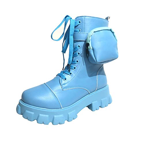 Motorradstiefel Damenschuhe British Style Retro Mid-Boot Ankle Boot Pocket (41,Blau)