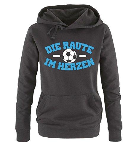 Comedy Shirts - Hamburg - DIE Raute - IM Herzen - Damen Hoodie - Schwarz/Weiss-Blau Gr. S