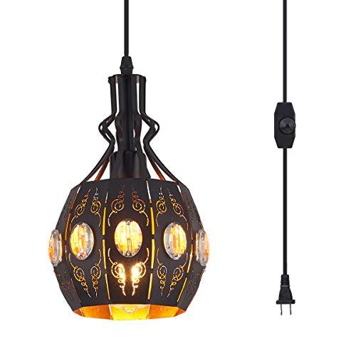 YLONG-ZS Hanging Lamps Swag Lights Plug in Pendant Light,Retro...